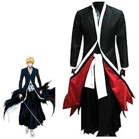 Giapponese giacca Anime Bleach Ichigo Kurosaki Cosplay Kimono,aglia XL (altezza 170cm-175 cm, peso 60-70kg)