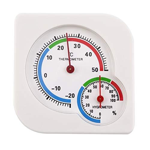 Gugutogo Klassische homeuse Outdoor Indoor 2 in 1 Mini-Wet genaue Hygrometer Feuchtigkeit der mechanischen Zähler Thermometer Temperatur (weiß) -