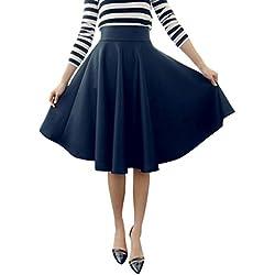 Minetom MujerES Niñas Elegante Afueras Rodilla Longitud Cintura Alta Minifalda Falda Plisada VEStidos Azul ES 40