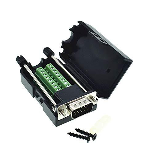 Ochoos D-SUB DB15 VGA-Stecker 3-reihig 15-poliger Stecker Breakout Terminals Schraub-Typ DIY Stecker -
