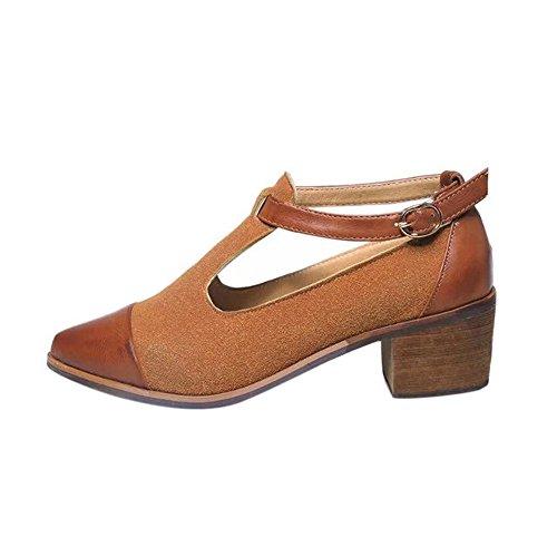 Longra Donna Solette sughero Tacchi alti sandali scarpe casual Marrone