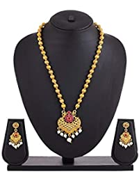 APARA Gold Plated Earring Necklace Jewellery Set for Women