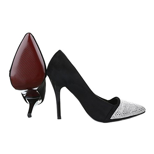 High Heel Damen Schuhe Plateau Pfennig-/Stilettoabsatz High Heels Ital-Design Pumps Schwarz