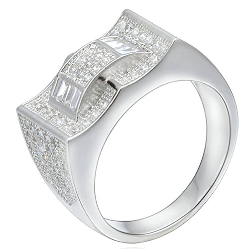 Epinki Damen 925 Sterling Silber Ringe, Rechteck Bogen Form Damenringe Vertrauensring Hochglanz Solitärring Silber mit Zirkonia Gr.49 (Haar Bögen Finger)