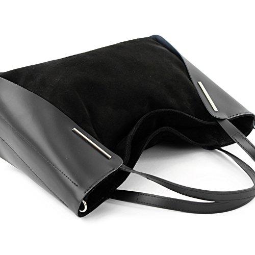 Italiana. Borsa donna shopper tracolla borsa tempo libero Business elegante vera pelle camoscio T126 Nero