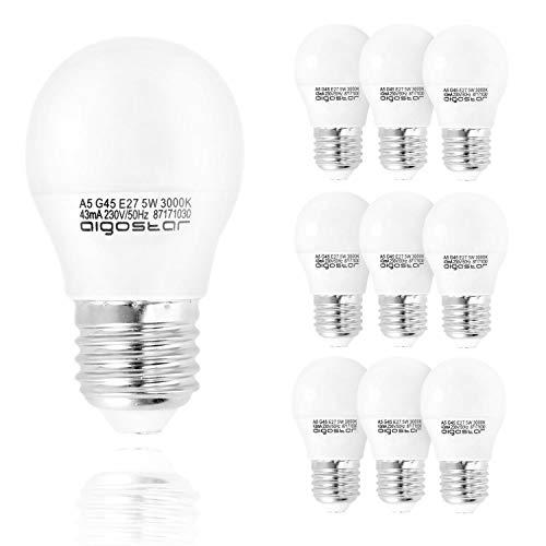 Aigostar - Bombilla LED A5 G45, E27, 5 W equivalente a 35 W, 400lm, Luz calida 3000K, no regulable - Pack de 10[Clase de eficiencia energética A+]