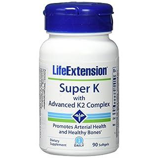 Life Extension , Super K mit weiterentwickeltem K2 Komplex , 90 Kapseln , hochdosiert , ohne Gentechnik , Mit Vitamin K1 und K2 ( mk4 und mk7 )
