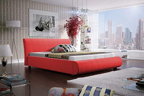 Best For Home Boxspringbett MEGI mit Luxus 7-Zonen Taschenfederkernmatratze oder Bonellfederkernmatratze in Härtegrad H2, H3, H4 (Rot, 160 x 200 cm)