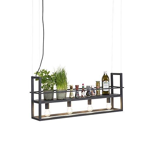 QAZQA Modern Moderne längliches Pendelleuchte/Pendellampe/Hängelampe/Lampe/Leuchte schwarz 4-flammig - Cage Rack/Innenbeleuchtung/Wohnzimmer/Küche Metall Länglich LED geeignet E27 Max. 4 (Vier Rack)