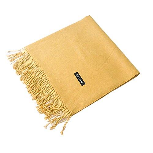 MMYOMI Frauen Männer Liebhaber Unisex glatt Kaschmir Schal 100% super weiche Plaid solide Pashmina Wrap Schal Schal (Gelb)