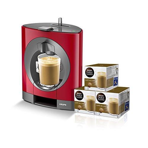Krups Oblo KP1105 - Cafetera Nestlé Dolce Gusto de 15 bares de presión y 1500 W de potencia con depósito de 0,8 L, color rojo con 48 cápsulas de café con leche