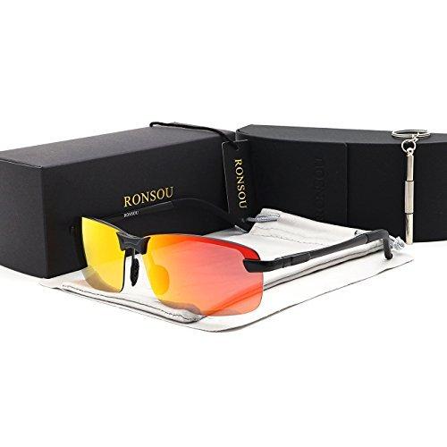 RONSOU Hombre UV400 Sin Marco Aluminio-Magnesio Polarizadas Gafas de Sol  para Conducción Pescar Golf 7e835aa30279