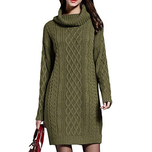 Comcrib Damen Kurzes Strickkleid Herbst Langarm Stretch PulloverKleid Vintage Hoher Kragen Kleid...