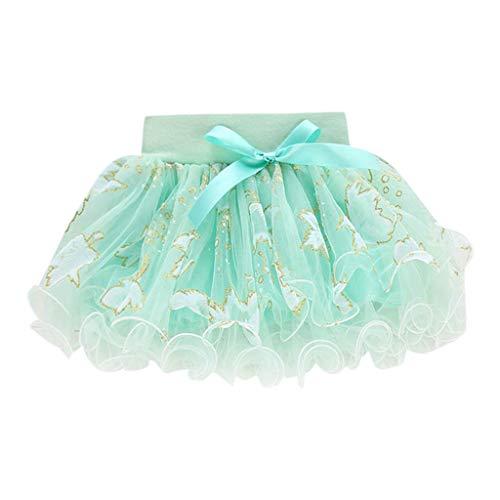 Kleinkind Rock feiXIANG Tutu Tüll Röcke Short Ballkleid Sommer Kinder Baby Party Hochzeit gedruckt Kostüm Minikleid (Grün,80)