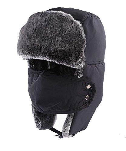 TANGIMP Unisex Klassische Trooper Winter-warmer Trappermütze Urban Wintermütze Fliegermütze Flieger russische Bomber Hut mit windundurchlässiges Maske Ohrenklappen (Herren Russischen Hut)