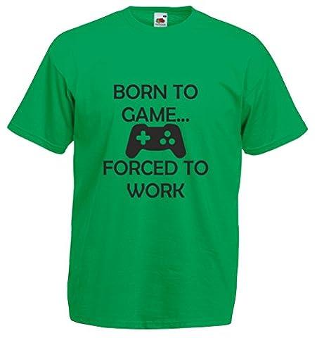 Born to Game…, Mens Printed T-Shirt - Kelly Green/Black 2XL