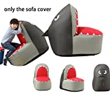 Quwei Children Cartoon Shark Leisure Creative Comfortable Chair Backseat Bean Bags Sofa Sets (cover of sofa, Silver)