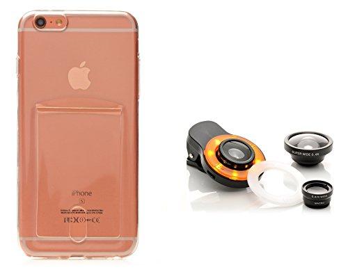 iProtect Kreativ Set Apple iPhone 6 Plus 6s Plus biegsame TPU Soft Case Hülle mit extra Fach für Ihre Polaroid Instax Mini Photos und Kamera Objektiv Linsenset Polaroid-kamera-licht-gelb