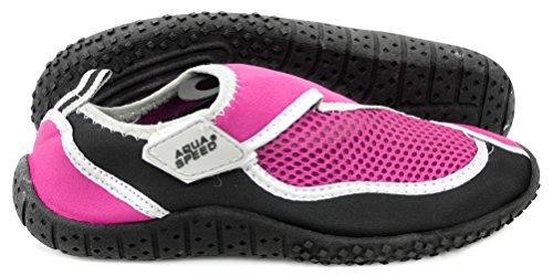 AQUA-SPEED Scarpe Di Acqua Per Spiaggia - Mare - Lago - Pantofole Ideale Come Protezione Per I Piedi - #As26 Rosa/Nero/Argento