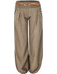 512a83a0f707f Cindeyar Pantalon Femme Fluide Taille Haute Stretch Harem Bouffant Ceinture  Causal Elastique Button Decoration avec Ceinture