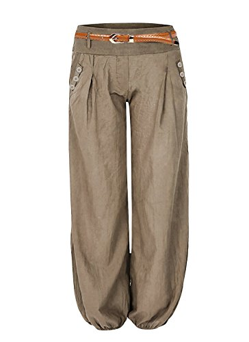 Cindeyar Damen Haremshose Elegant Winter Pumphose Lange Leinen Hose mit Gürtel Aladin Pants,1 Hosen+1 Gürtel (M, Khaki) -