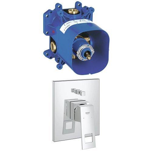 GROHE Rapido E, Brause-und Duschsysteme - Unterputz-Universal-Einheit für Wanne und Brause + Eurocube Einhand-Wannenbatterie, BUNDLE