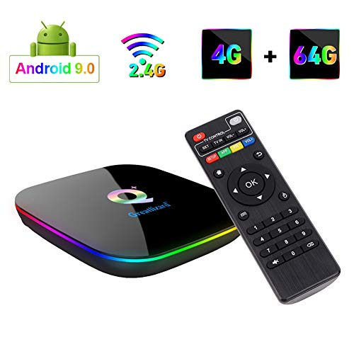 Greatlizard Q Plus TV Box Android 9.0 4 GB RAM 64 GB ROM Quad Core 4K 6K 2,4 GHz WiFi Smart TV Box -