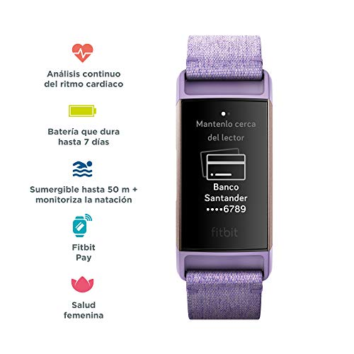Fitbit Charge 3 - Edición Especial - Pulsera avanzada de salud y actividad física,Textil Lavanda / Aluminio Color Oro Rosa