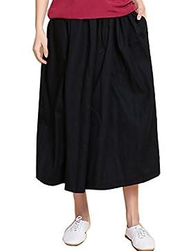 Simgahuva Mujer Casual Cropped Pantalones Ropa De Cama De Algodón Pantalones De Pierna Ancha, Culottes