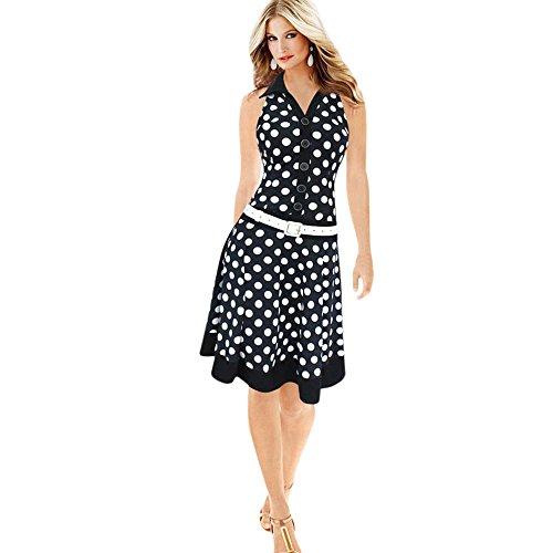 Damen Sommerkleider Frauen Dress Vintage Abendkleid Polka Dot Print Mini Kleid A Line Swing Kleider Ärmelloses Skaterkleid Partykleid Cocktailkleid Umlegekragen Faltenrock (XL, Sexy Schwarz) (Rüschen Polka Mini Dot)