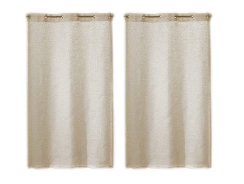 Linder 0169/29/475ri - coppia di tende dritte kaolin, con occhielli, colore beige naturale, 50% poliestere, 50% lino, 55x120