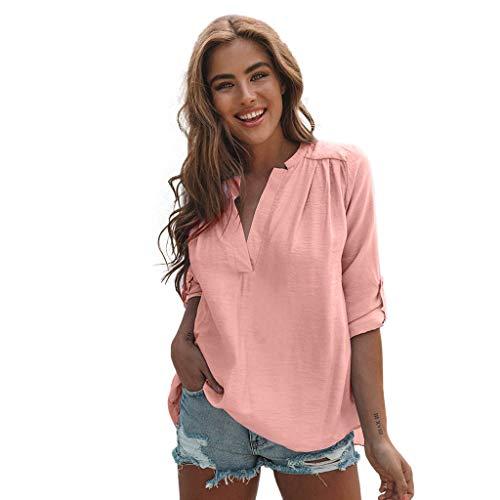 CAOQAO Damen Volltonfarbe Baumwolle Leinen Elegantes Shirt Casual Solide Langarm Hemd Bluse Button Down Tops Lose Mode BeiläUfig Sexy ()