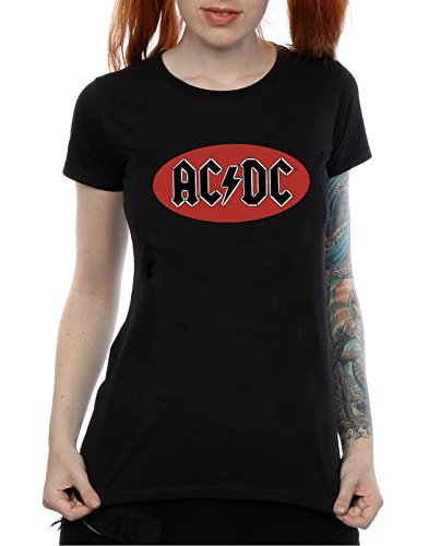AC/DC Damen Red Circle Logo T-Shirt Schwarz