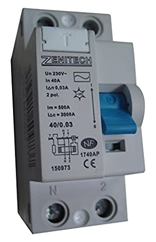 Zenitech - Interrupteur différentiel 40/2 30 mA Type AC