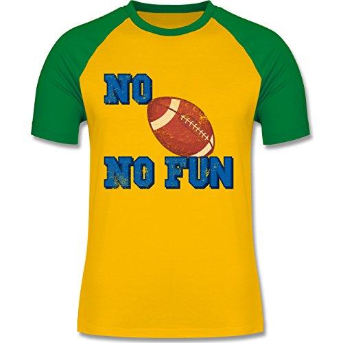 Sonstige Sportarten - No Football no Fun Vintage - zweifarbiges Baseballshirt für Männer Gelb/Grün