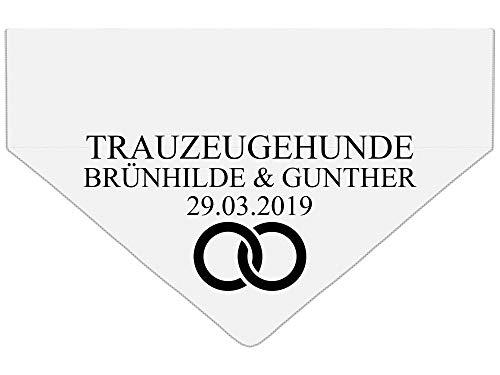 Trauzeugehund Personalisierte Hundebandana mit Namen [geht an Hundehalsband] Hunde Dreiecks Hochzeit Halstuch Dog Tuch mit Name des Hundes