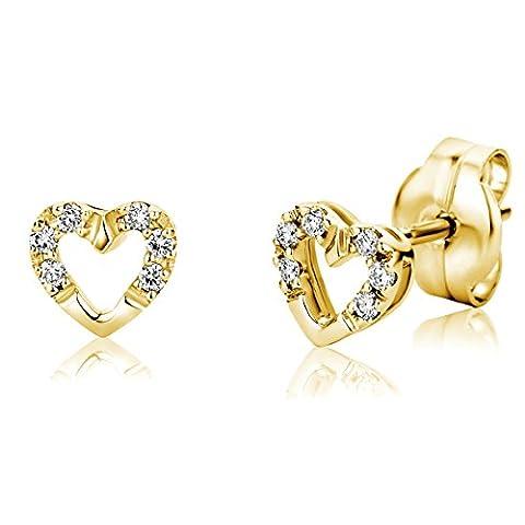 Miore - M0813Y - Boucles d'Oreilles Femme - Coeurs - Or jaune 750/1000 (18 carats) 0.97 gr - Diamant 0.07 cts
