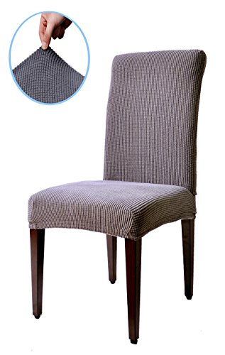 Subrtex Spandex Stretch Dyed Dining Room Chair Slipcovers (4, Gray Checks)