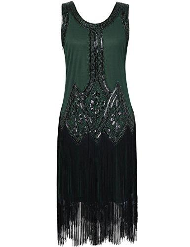 Kayamiya Damen Retro Inspiriert 1920er Paillette Perlen Art Deco Franse Flapper Kleid S Grün (Grün Flapper Kostüme)