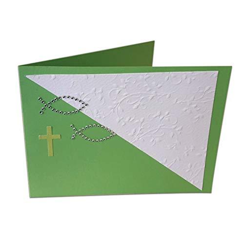 Kreativpapier - Bastelset aus Papier - Konfirmation/Kommunion/Firmung Faltkarte Fische Grün - 10 Stück