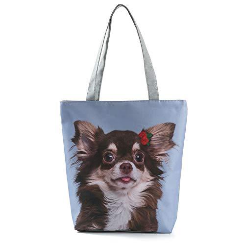 MoGist Strandtasche Damen Shopper Schultertasche Niedliches Hunde Katzen Muster Reise Einkaufstasche Tragetasche (Style7)
