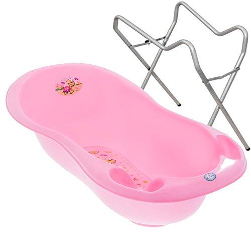 BABY BADESET Babybadewanne + Ständer (Rosa)