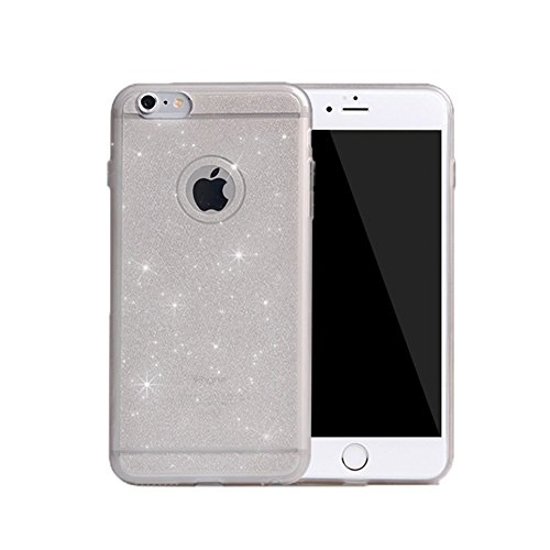 Coque Iphone 6/6S, XIAN Ultra Fin YiFeng Bling Glitter en caoutchouc Coque en gel silicone pour Apple iPhone, gris, iPhone 5/5s