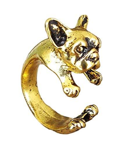 Pashal, anello a fascia, a forma di bulldog francese, tridimensionale, regolabile, base metal, colore: Gold, cod. ss