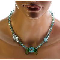 01b8c5035c31 Collar de flores con lámpara azul - collar de fantasía - collar ...