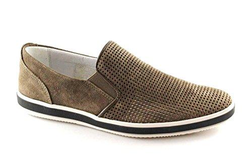 IGI & CO 76865 Schlamm beige Schuhe Männer Aufsteck-Turnschuhe perforiert Veloursleder Beige