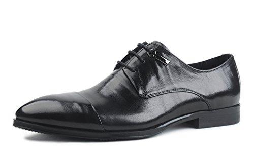 Leder-fahrer-schuhe (Dilize Herren 's New Design Leder Derby Schuhe Kleid Oxford mit GAP Fuß, Schwarz - schwarz - Größe: 44 EU)