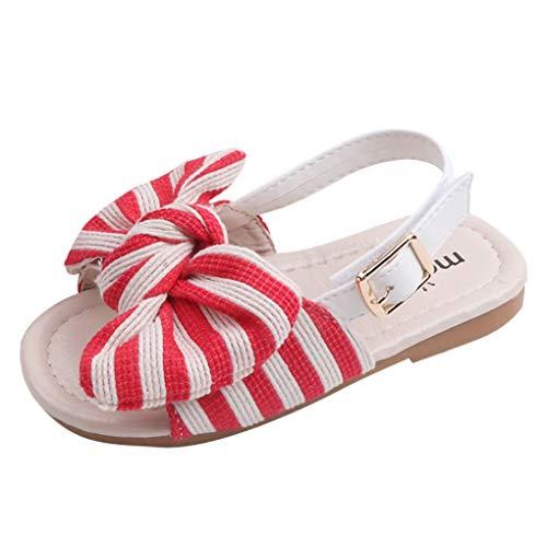 Dorical Baby Sandalen Striped Bowknot Sommer Kleinkind Babyschuhe Krabbelschuhe Pantoletten Hausschuhe Geschlossene Strand Sandale Schuhe Sommer 1-6 Jahre(Rot,2.5-3Jahre) (Kleinkind Vatertag Basteln)