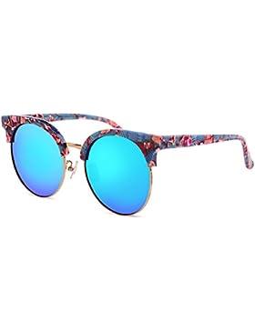 Las señoras redondas gafas de sol/Gafas de sol reflectantes color película/Espejo retro polarizado rana