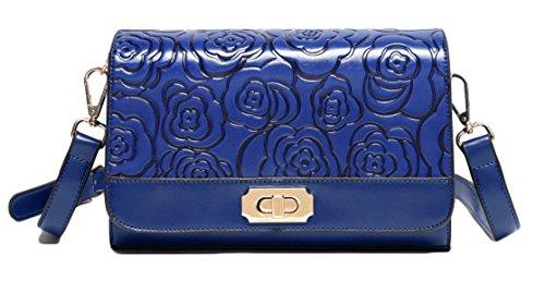 La Signora Rosa Embossed Messenger Bag Fashion Blue